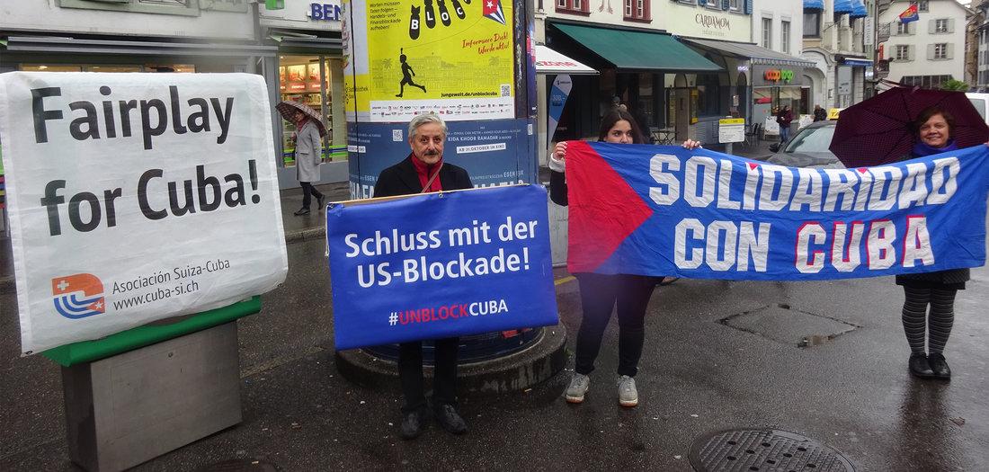 Aktion: Solidarität mit Kuba in Bern und Berlin