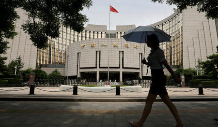 Hauptquartier der People›s Bank of China in Beijing: Die Notenba...