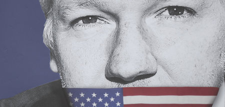 Solidaritätsplakat für Julian Assange am 2. Mai in London