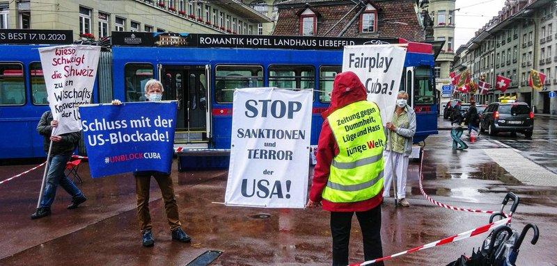 Kundgebung gegen die US-Blockade in der Schweizer Hauptstadt Bern