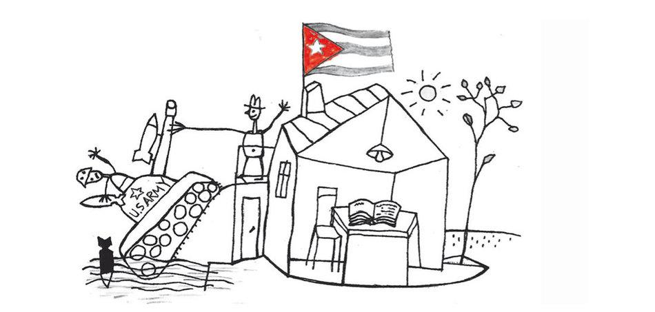 Karikatur US-Blockade