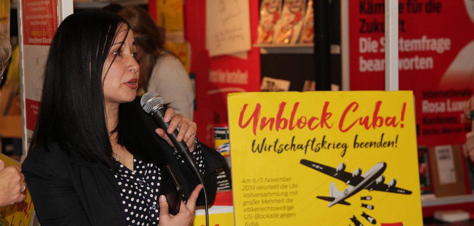 Soliaktion der jungen Welt auf der Frankfurter Buchmesse 2019