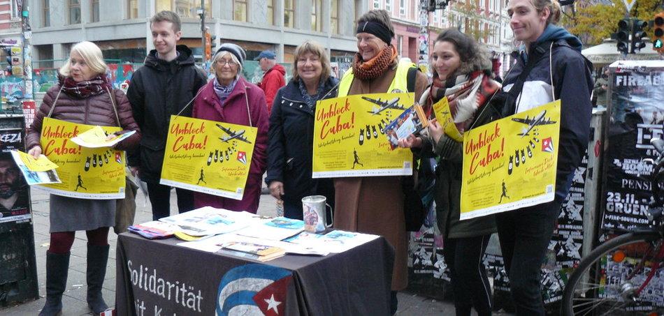 Auch in Hamburg wurde gegen die US-Politik gegenüber Kuba protestiert