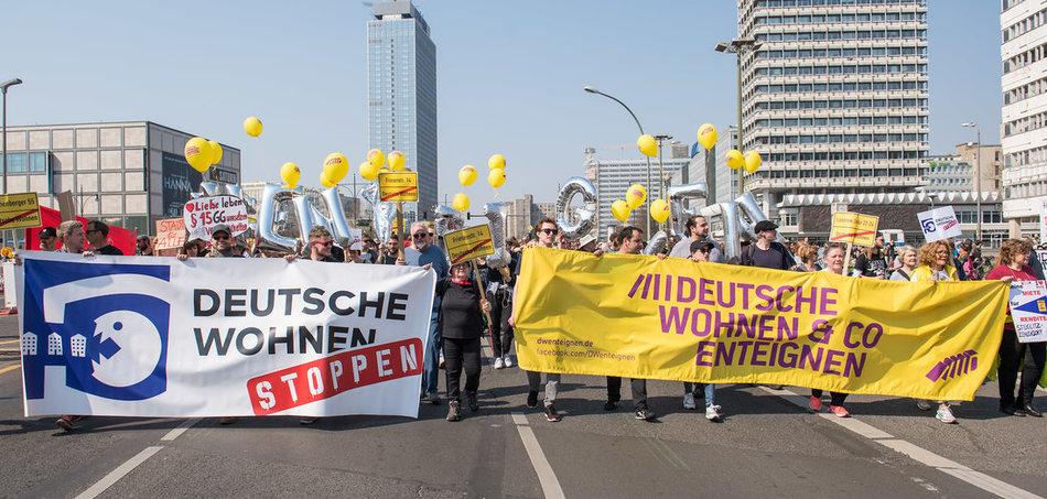 Demonstration gegen »Mietenwahnsinn« am 6.4.2019 in Berlin. Foto: Christian-Ditsch.de